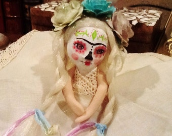 Mini doll Catrina   Ooak Polymer Clay