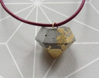 Concrete necklace leather diamond/gift for you / diamond / handmade