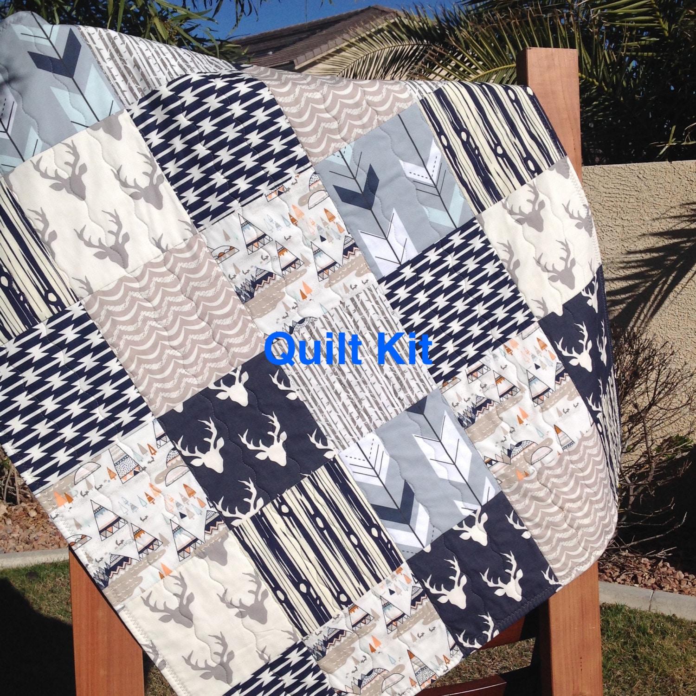 Woodland Quilt Kit Woodland Nursery Bedding Grey And Navy