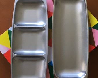 Set of Two Mid Century Modern Stainless Steel Trays