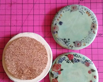 Floral ceramic handmade coasters