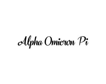 Alpha Omicron Pi decal vinyl window bumper Sorority greek letters laptop sticker available in 10 different sizes and 30 different colors