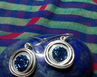 Sterling silver drusy earrings made in Israel