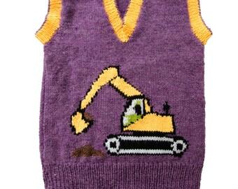 Childrens Excavator/Digger Motif  Knitting Pattern, Childs Sweater, Knitting Pattern PDF
