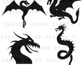 Dragon svg silhouette clipart pack - Dragon clip art digital download svg, dxf, eps, png