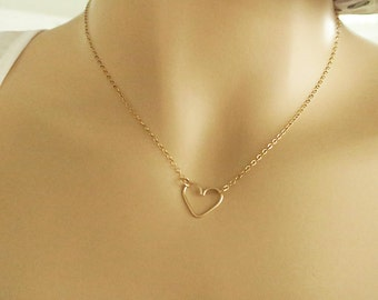 Heart Necklace Silver or Gold Be My Bridesmaid Love Necklace Simple Heart Small Heart Charm Cute Minimalist Necklace Wedding Jewelry