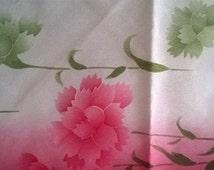 Japanese scarf Vintage 80s 90s Oriental scarf Flower scarf