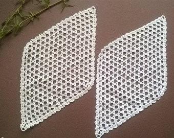 Тwo white Doilies crocheted  Rhombus  Vintage 1972  Crocheted Doilies  Handmade Doilies