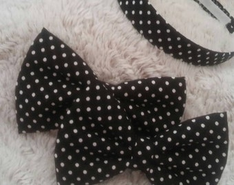 "Black and White Polka Dots 5"" Hair Bow (headband not included)"