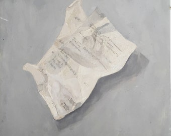 Sales Receipt, painterly oil painting on canvas, still life, small painting, thick paint, layers