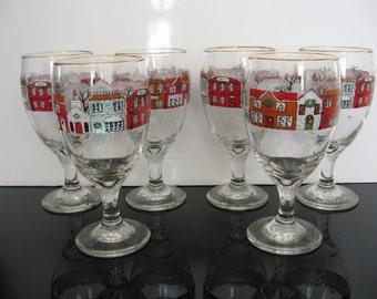 Festive Holiday Village Wine Glasses - Set of 6