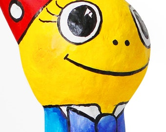 Tirli, Paper Mache Art Doll, in red cap with dots