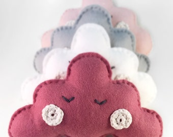 Sleeping felt cloud mobile in raspberry, nursery children's deco, handmade wall hanging