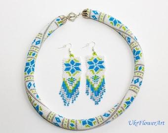 Ukrainian Vyshyvanka, Beaded Crochet,  Rope Necklace, Beadwork Handmade, Blue-Lime-White-Silver,Seed beads,Vyshyvanka, Elegant National