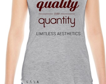 QUALITY OVER QUANTITY Racer-back Tank Top