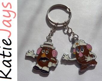 toy story mr mrs potato head figure charm keyring zip bag keychain katiejays key ring chain katie jays
