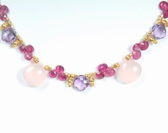 Amethyst, Rubellite and Pink Chalcedony with 18k Gold