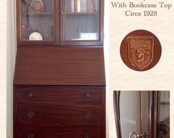 Vintage Mahogany Landstrom Slant Top Desk with Bookcase Top / Secretary Desk / Vintage Furniture / Antique Furniture