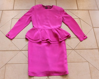 LOUIS FERAUD Hot Pink SILK Dress       Sz 6