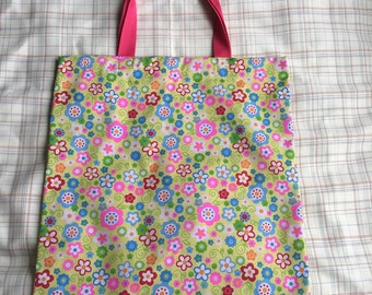 Yellow flowery bright patterned tote bag
