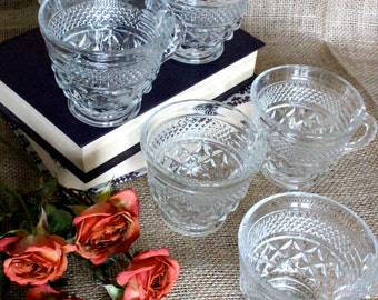 Vintage Wexford Glass Punch or Coffee Cups with Handles (Set of 6)