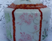 Beautiful Red Trimmed Butterflies and Flowers Porcelain Candy or Cookie Jar Japan