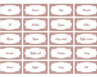 the label 65 x spice labels | dark red Vichy design | Stock labels | Household labels