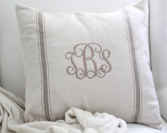 Customized Monogram Grain Sack Pillow Cover in Tan with Tan Thread