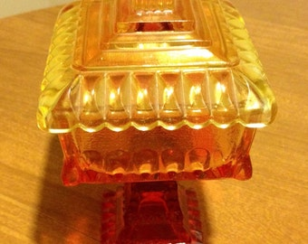 Vintage amber Glass Candy dish