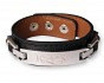 Engraved  Leather bracelet for He  or She