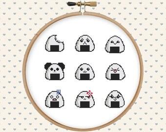 Kawaii cross stitch pattern pdf - instant download - modern cross stitch - asian cross stitch - japanese cross stitch - food cross stitch