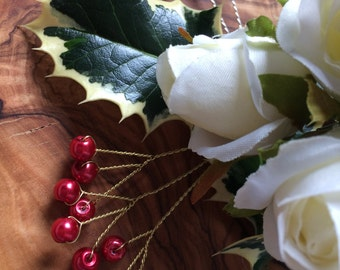 Triple Red Berry Stems, Red Glass Pearls, Holly berries, Floral Centre Pieces, Christmas berries
