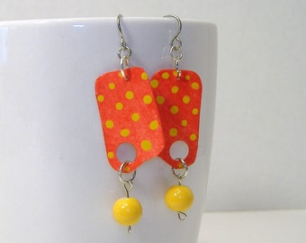 Orange With Yellow Polka Dots Hand Painted Paper Earrings