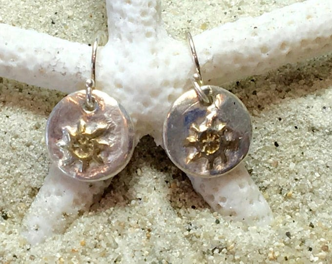 Sterling and Fine Silver 22K Gold Plated Ships Wheel Coin Earrings