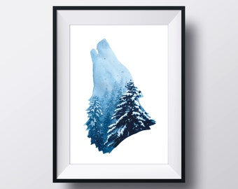 Aquarell Painting, Wolf, FINE ART PRINT, Winter, Forest, Snow, Blue