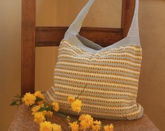 100% cotton crochet shoulder bag