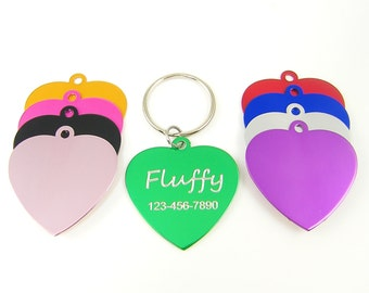 Cat Tag Pet ID - Engraved Personalized Heart Cat Collar Identification Tag for Pets