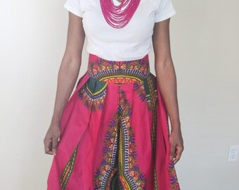 Maxi Skirt, African skirt, African maxi skirt, Dashiki maxi skirt, pink skirt, African print maxi skirt, Pink and green, African clothing