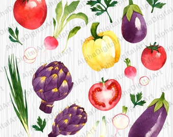 22 Watercolor Vegetables Clipart, Tomato Clipart, food clipart set, onion clipart, digital pepper,scrapbooking,salad clipart,parsley clipart