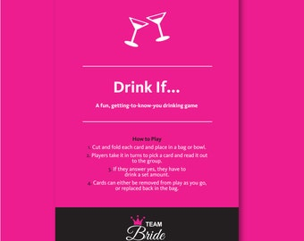 Editable Drink If Game Bachelorette Party Games -Hen Party Games Drinking Games Hen Night Games Drink If Drinking Game, Instant Download