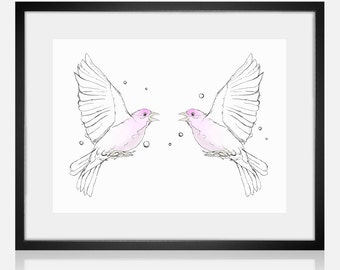 Birds Meeting, Digital Drawing