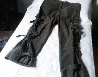 S.b. CONCEPT rare vintage military cargo pants-trousers-trousers s. B Concept with multiple pockets, studs and ties