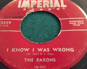 """The Barons - """" My Dream ,My Love/ I Knew I Was Wrong"""" rare 45, doo wop, blues, VG+"""