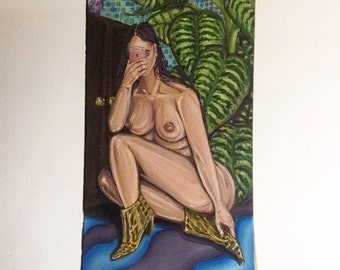 Sexting With Myself, 1 * oil on wood