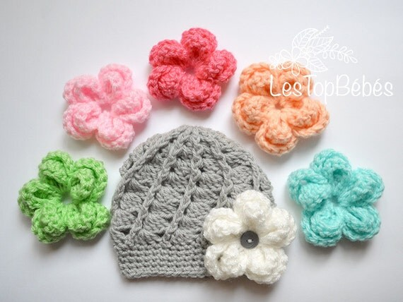 Newborn Crochet Hat Interchangeable Flower Hat by LesTopBebes