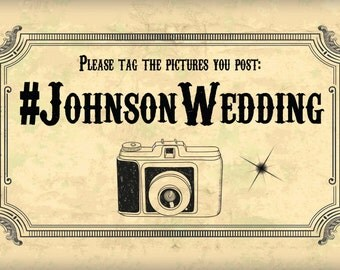 Custom Wedding Photo Hashtag Sign Digital Download