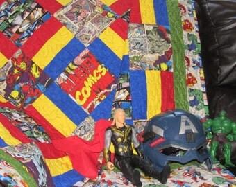 Homemade handmade quilt, toddler bed, childrens quilt, nursery decor, Superhero quilt, Avengers Quilt