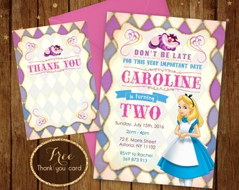 Alice in wonderland birthday invitation -Printable Invite - Alice Party Card - Any Age Disney Invitation - 5x7 or 4x6 - Free Thank you Card