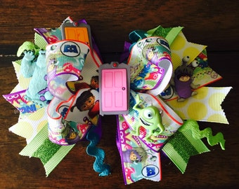 Monster Inc stacked bow, monster Inc bow, boo stacked bow