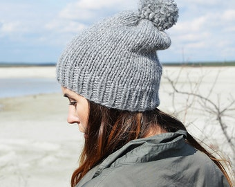 Knitted hat with pom pom | Knit Beanie | Winter Hat | Autumn Hat | Gray Hat